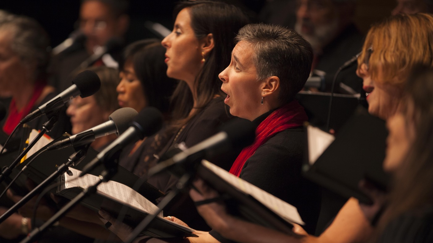 The 20 piece choral ensemble Choral Cantigas singing in NPR Music's Alt.Latino