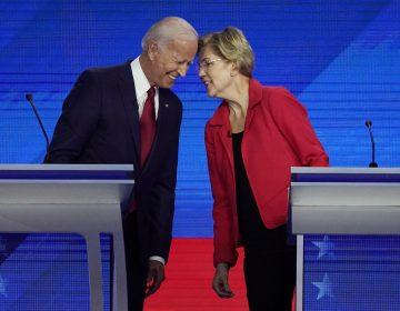 Democratic presidential candidates Joe Biden and Sen. Elizabeth Warren, D-Mass., connect before the September Democratic presidential primary debate. (David J. Phillip/AP Photo)