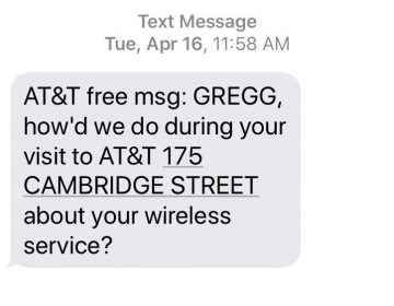 After regaining control of his number, Gregg Bennett says he received this automatic text message from the AT&T store in Boston that he believes was used by the SIM-swappers. (Martin Kaste/Gregg Bennett)