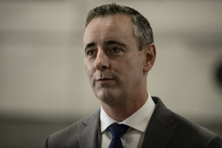 Rep. Brian Fitzpatrick, R-Pa., speaks during a campaign event at the Load Rite Trailers manufacturing facility in Fairless Hills, Pa., Monday, Sept. 17, 2018. (AP Photo/Matt Rourke)