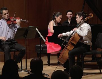 Lun Li, violin; Chase Park, cello; Janice Carissa, piano on stage at Curtis