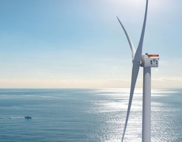 The Danish company Ørsted plans to place wind turbines like this 853-foot tall GE Haliade X-12 turbine in the Skipjack Wind Farm east of the Delaware's southern beaches. (GE photo)