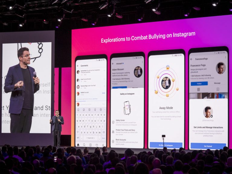 Adam Mosseri, head of Instagram, speaks at the F8 Developers Conference in San Jose, Calif., April 30, about the social media platform's anti-bullying efforts. (Bloomberg via Getty Images)