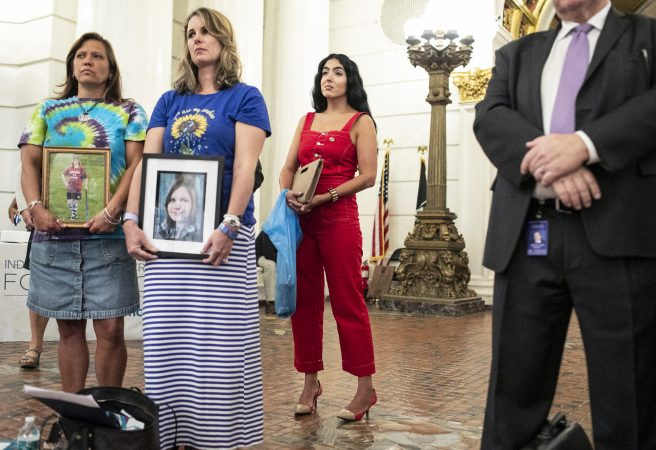 Gisele Fetterman stops to listen to a speaker during Suicide Prevention Day at the Capitol. Sept. 25, 2019. (Sean Simmers/PennLive)