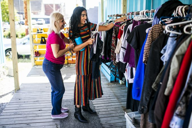 Gisele Fetterman, the Second Lady of Pennsylvania works at The Free Store in Braddock, Pa. Sept. 19, 2019. (Sean Simmers/PennLive)