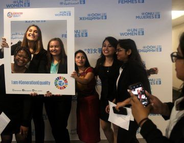 A lighter moment on a serious day: the presentation of a Global Girls' Bill of Rights at the U.N. Left to right: Six of the young women who helped draft the document: Faith Nwando, 17; Djellza Pulatani, 17; Olivia Lombardo, 16; Angelica Morales, 21; Kanchan Amatya, 22; and Vishakha Agrawal, 20. (Yana Paskova for NPR)
