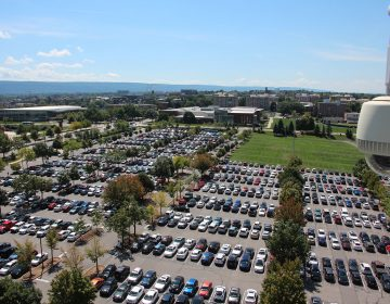 From the top of Beaver Stadium, one of the biggest stadiums in the world, it's possible to see just part of Penn State's central campus in State College, Pa. (Dan Charles)