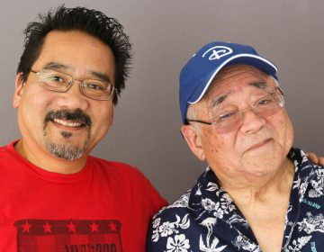 Father and son artists, Vince Ito (left) and Willie Ito, at their StoryCorps interview in Los Angeles last month. (Rochelle Hoi-Yiu Kwan/StoryCorps)