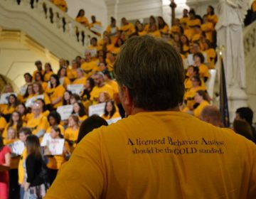 Supporters of House Bill 1900 wore gold shirts at a rally in the state Capitol Wed., Oct. 23, 2019. They want the state to license applied behavior analysis as a medical profession so that insurance will cover it. (Brett Sholtis/Transforming Health)