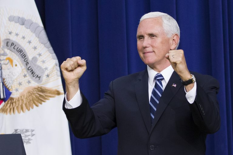 Vice President Mike Pence reacts during an immigration and naturalization ceremony in the Eisenhower Executive Office Building on the White House grounds, Tuesday, Sept. 17, 2019, in Washington. (AP Photo/Alex Brandon)
