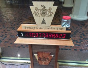 A pension debt clock that sits in the state Capitol's east wing rotunda. Together, Pennsylvania's two public pension systems have roughly $70 billion in unfunded liabilities. (PennLive)
