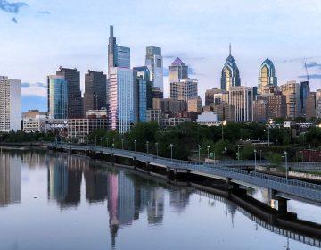 Philly skyline above the Schuylkill Banks Boardwalk (Danya Henninger/Billy Penn)
