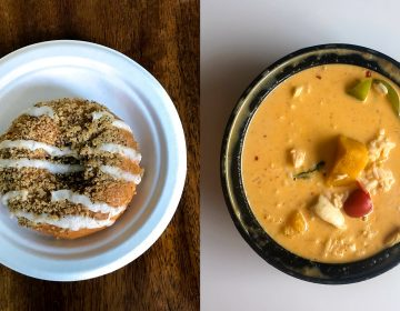 Pumpkin donut at Federal Donuts and pumpkin curry at Circles Thai are just two of the options for orange gourd treats this fall. (Layla Jones/Billy Penn)