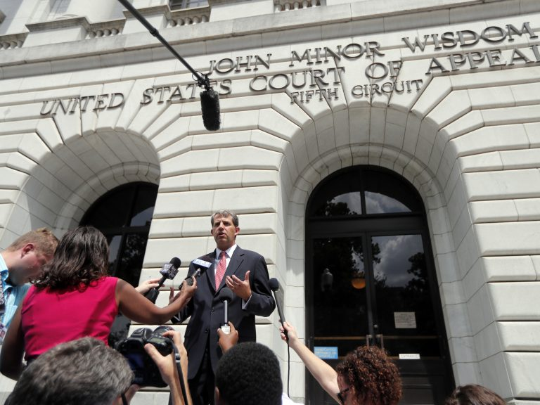 The latest challenge to the Affordable Care Act, Texas v. Azar, was argued in July in the 5th Circuit Court of Appeals. Attorney Robert Henneke, representing the plaintiffs, spoke outside the courthouse on July 9. (Gerald Herbert/AP)