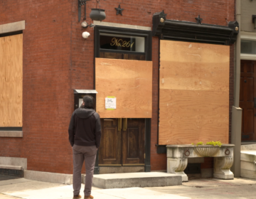 A restaurant in Philadelphia boarded up due to the coronavirus pandemic