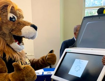 CCP's new mascot, Roary the Lion, learns how to use Philly's new touchscreen voting machines (Twitter/@CCPedu)