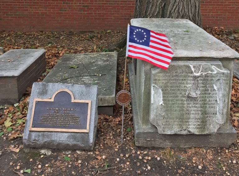 The grave site of Benjamin Rush, who is considered the father of American medicine, at Christ Church Burial Ground. (WHYY)