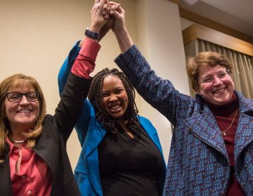 Democrats (from left) Elaine Paul Schaefer, Monica Taylor, and Christine Reuther celebrate their sweep of the three open seats on the Delaware County Council. (Emily Cohen for WHYY)