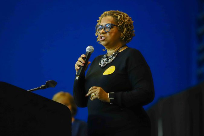 City Council President Hanifa Shabazz gives remarks during Kind to Kids Foundation's 4th Annual My Blue Duffel Community Service Day. (Saquan Stimpson for WHYY)