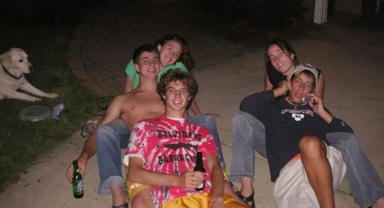 Bottom left: Jeremy Lapedis, Ethan Gillett, Anna Fishman. Bottom right:  Jake Scobey-Thal and Maria Alexander, summer of 2005 after our senior year of high school. (Image courtesy of Maria Alexander).