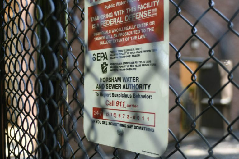 Detailed view on the newly installed system to filter out PFAS Forever Chemicals at Well #2 of the Horsham Water and Sewer Authority facility in Horsham, Pa., on August 22, 2019. (Bastiaan Slabbers for WHYY)