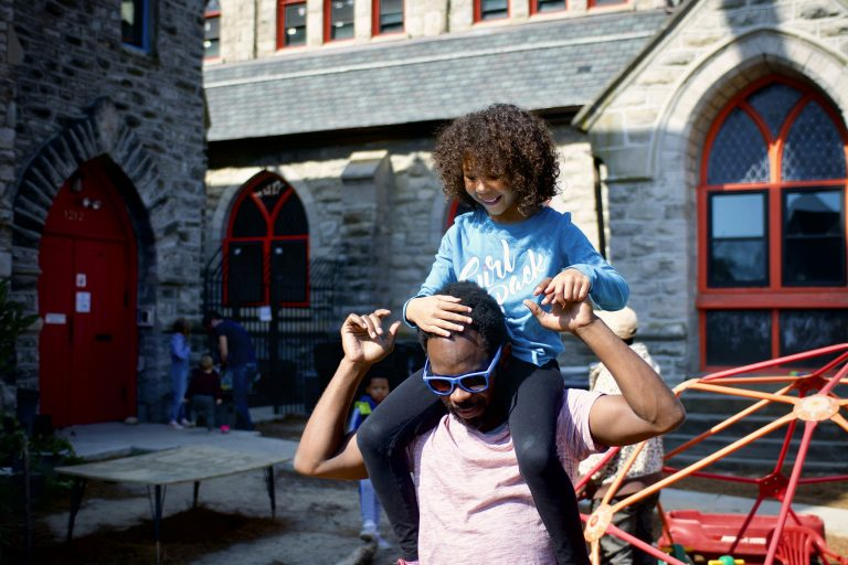 Aliyah, 8 and father, Kalif Troy, of West Philadelphia, participate in a play date with the Fathering Circle on Saturday, October 12, 2019. (Bastiaan Slabbers for WHYY)