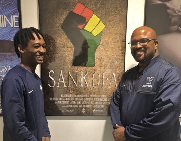 Villanova University student Caleb Lucky (left) and Professor Hezekiah Lewis helped make the film