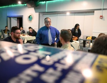 David Oh at his Election Night watch party in Northeast Philadelphia. (Bastiaan Slabbers for WHYY)