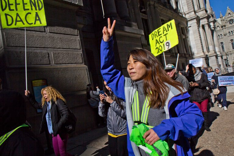 Protesters fighting to save  DACA are marching from New York to Washington D.C. ahead of a Supreme Court hearing. They stopped in Philadelphia on their way to D.C. (Kimberly Paynter/WHYY)