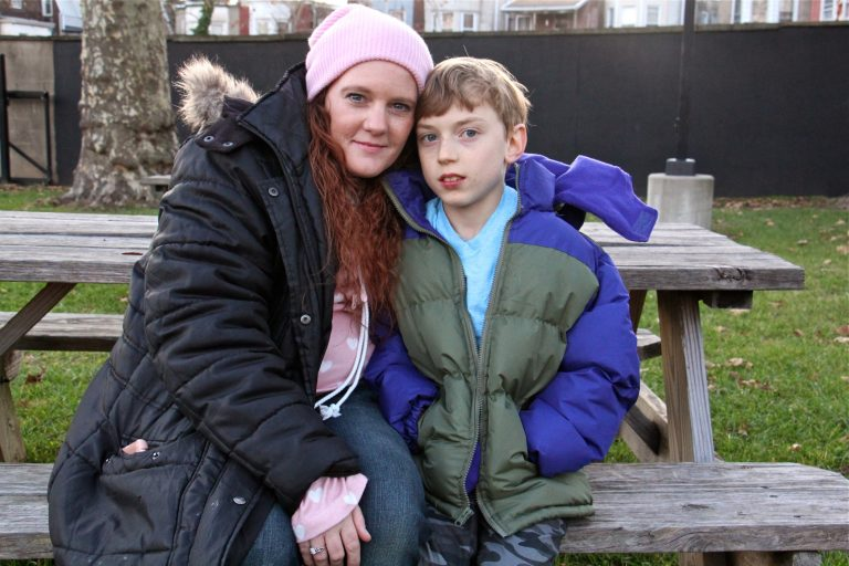 Susann Schofield, 39, and her son Brice, 11,  will be affected by the USDA's proposal to reduce SNAP benefits (Emma Lee/WHYY)