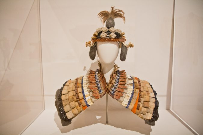 Debra Rapoport's Epaulets and Hood in the Off the Wall: American Art to Wear Exhibit. (Kimberly Paynter/WHYY)