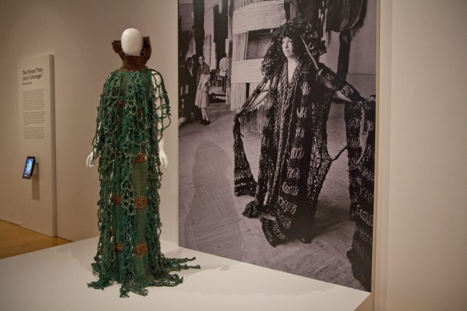 Debra Rapoport's Fibrous Raiment in the Off the Wall: American Art to Wear Exhibit. (Kimberly Paynter/WHYY)