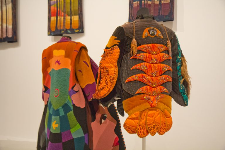 Crustaceans and Venomous Marine Life Converging on Hair Tide by Jamie Summers at the Off the Wall: American Art to Wear Exhibit. (Kimberly Paynter/WHYY)