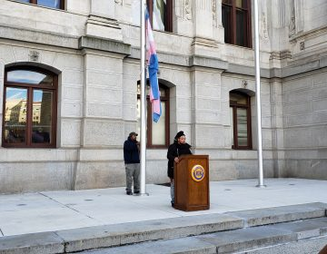 Flag raising at Philadelphia City Hall marks Trans Day of Remembrance (Tom MacDonald/WHYY)