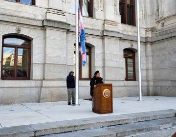 Flag raising at Philadelphia City Hall marks Trans Day of Remembrance (Tom MacDonald/WHYY)