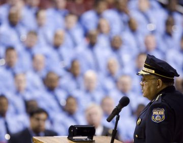 Philadelphia Police Commissioner Charles Ramsey addresses the city's sworn and civilian personnel on his new crime-fighting strategy, he wants to move more officers into high crime areas. (Matt Rourke/ AP Photo)