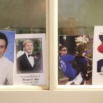 (L-R) Four photos of Jimi Patrick, Tom Meo, Dean Finocchiaro, and Mark Sturgis are placed in a kitchen cabinet window in the home of the Patricks, nearing the anniversary of the murders of four young men in Bucks County July of 2017.  ( AP PHOTO / DAVID SWANSON / The Philadelphia Inquirer )