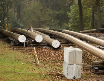 In this Oct. 22, 2019 file photo, pipes lay along a construction site on the Mariner East pipeline in a residential neighborhood in Exton, Pa. (Matt Rourke/AP Photo)