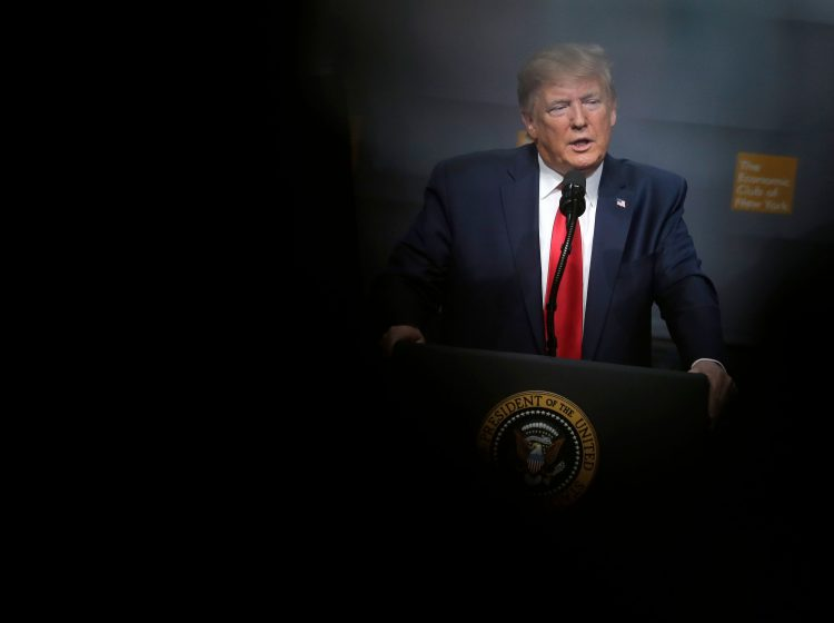President Donald Trump speaks during a meeting of The Economic Club of New York in New York, Tuesday, Nov. 12, 2019. (AP Photo/Seth Wenig)