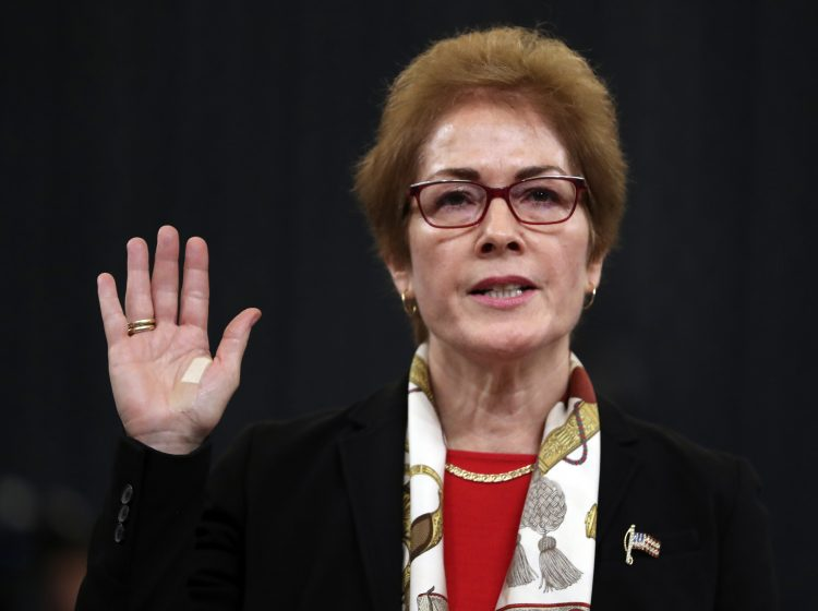 Former U.S. Ambassador to Ukraine Marie Yovanovitch is sworn in to testify to the House Intelligence Committee on Capitol Hill in Washington, Friday, Nov. 15, 2019, during the second public impeachment hearing of President Donald Trump's efforts to tie U.S. aid for Ukraine to investigations of his political opponents. (Andrew Harnik/AP Photo)