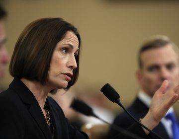Former White House national security aide Fiona Hill, and David Holmes, a U.S. diplomat in Ukraine, right, testify before the House Intelligence Committee on Capitol Hill in Washington, Thursday, Nov. 21, 2019, during a public impeachment hearing of President Donald Trump's efforts to tie U.S. aid for Ukraine to investigations of his political opponents. (Manuel Balce Ceneta/AP Photo)