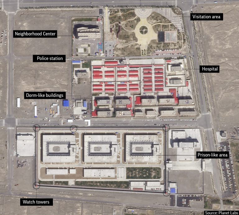 In this Sep. 17, 2018, file satellite image provided by Planet Labs, buildings are seen around the Kunshan Industrial Park in Artux in western China's Xinjiang region. This is one of a number of internment camps in the Xinjiang region. Experts say the Chinese government has detained up to 1.8 million Uighurs, ethnic Kazakhs and other Muslim minorities for what it calls voluntary job training. But a classified blueprint leaked to news organizations shows the camps are precisely what former detainees have described: Forced re-education centers. (Planet Labs via AP, File)
