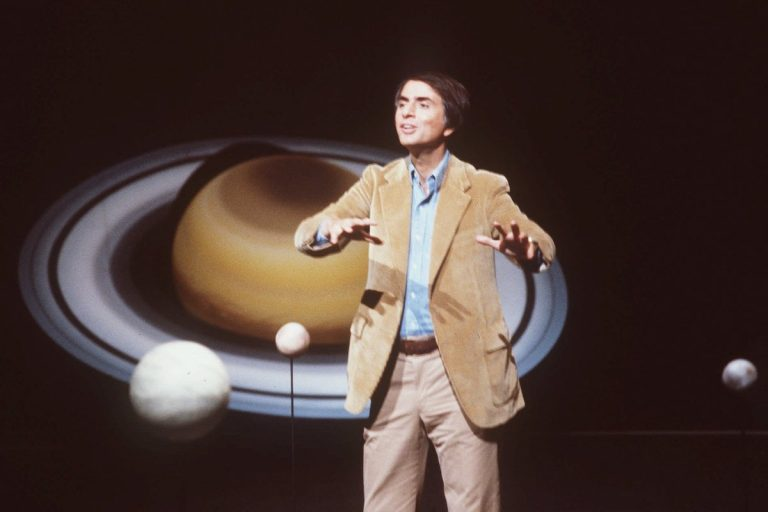 In this 1981 file photo, astronomer Carl Sagan speaks during a lecture. On Saturday, May 9, 2015, Cornell University announced that its Institute for Pale Blue Dots is to be renamed the Carl Sagan Institute. Sagan was famous for extolling the grandeur of the universe in books and shows like