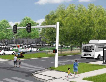 An artist's rendering of the BAT lanes planned for Roosevelt Boulevard. (City of Philadelphia)