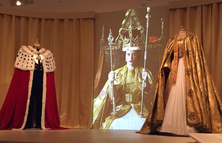 Costumes portraying Queen Elizabeth's coronation garments are on display at Winterthur Museum in Delaware. (Mark Eichmann/WHYY)