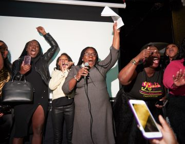 Kendra Brooks after declaring victory in North Philadelphia. (Natalie Piserchio for WHYY)