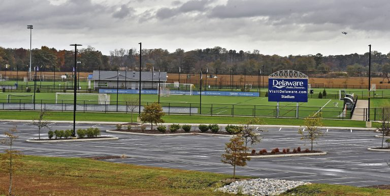 A new law paves the way for a hotel tax that would go to the DETurf sports facility south of Dover. (Butch Comegys for WHYY)