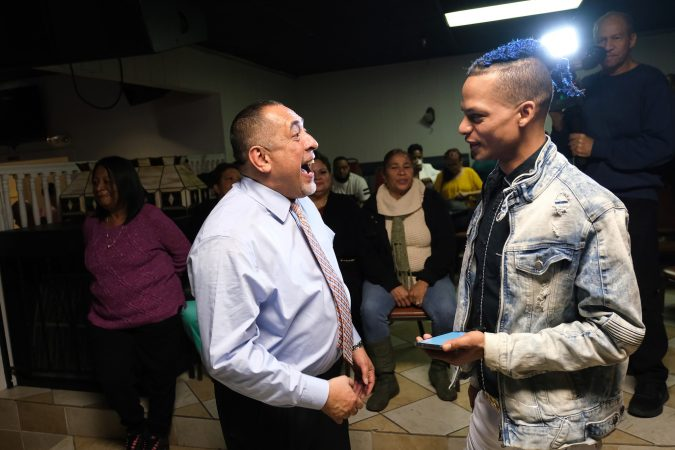 Reading Democratic mayoral candidate Eddie Moran talks to supporters gathered Nov. 2, 2019 at Jet Set Restaurant for a campaign event. (Matt Smith for Keystone Crossroads)