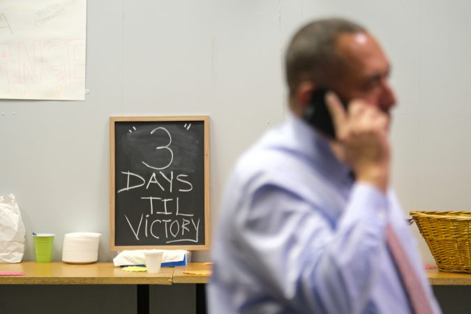 Democratic candidate Eddie Moran on the phone at his campaign office Nov. 2, 2019. (Matt Smith for Keystone Crossroads)
