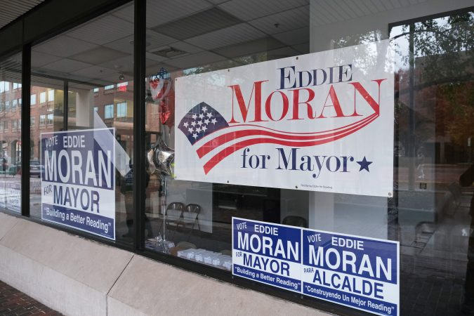 Campaign signs displayed for Reading Democratic mayoral candidate Eddie Moran. (Matt Smith for Keystone Crossroads)